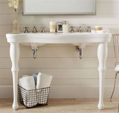 parisian bathroom timeless beauty parisian pedestal double sink by pottery barn