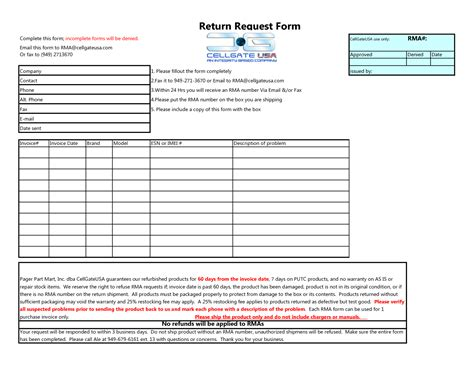 Rma Request Form Template Images Template Design Ideas Rma Form Template