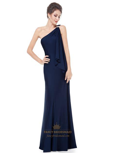 Dress Blue Navy navy blue one shoulder bridesmaid dress gorgeous navy blue