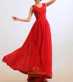 Long red chiffon prom dress red chiffon dresses for slim women