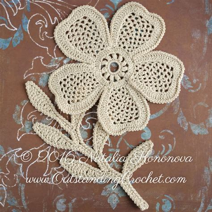 pattern motif crochet irish crochet applique pattern looming flower with leaf