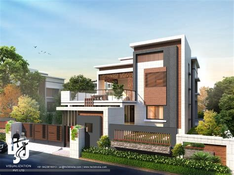 modern bungalow elevation 3d modern bungalow exterior elevation day renderings by hs