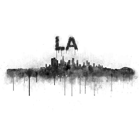 los angeles city skyline hq v5 bw painting by hq photo