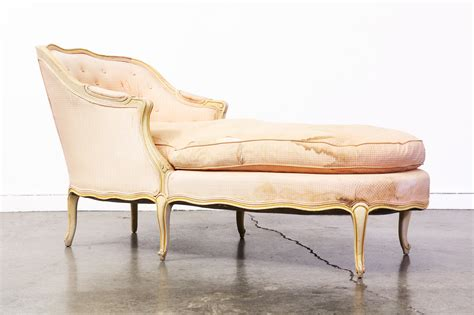 Vintage French Style Chaise Lounge With Down Feather