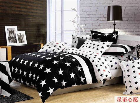 Two Pcs Pillow Cases 90436 white black checkerboard comforter covers bedding set
