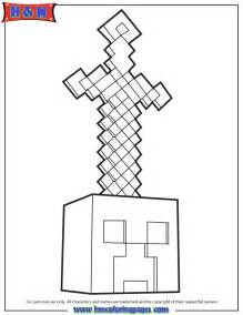 mindcraft coloring pages minecraft sword on coloring page h m coloring pages