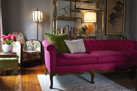 pink living room chair pink tufted sofa eclectic living room emily henderson