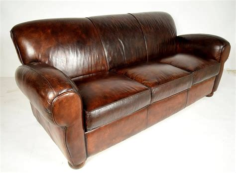 1970 s vintage club distressed leather sofa for sale at