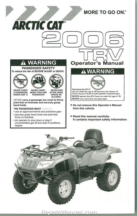 2006 Arctic Cat 400 500 Trv Owners Manual