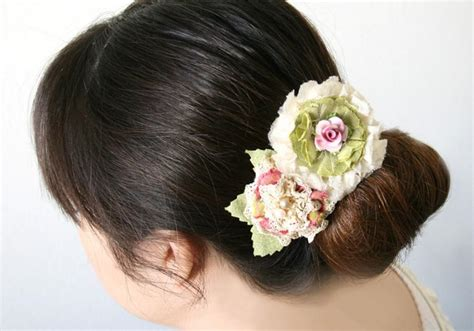 Vintage Wedding Hair Barrettes by Floral Hair Barrette Bridal Hairpiece Bridal Barrette