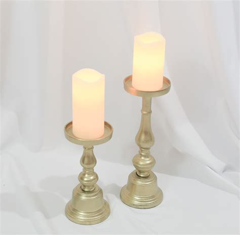 Gold Pillar Candle Holders Loisa Gold Pillar Candle Holders Set Of 2 Rental