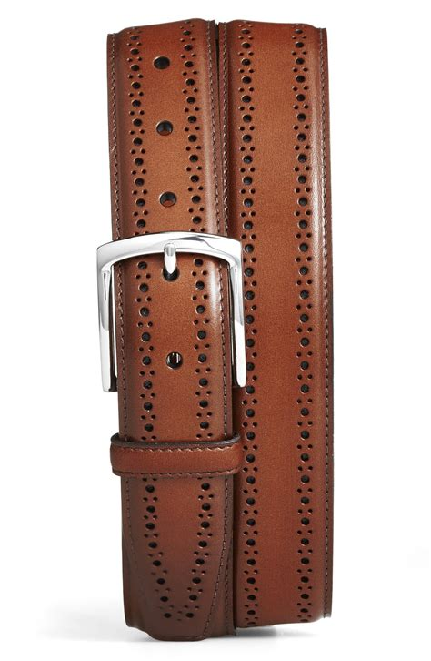 allen edmonds manistee brogue leather belt nordstrom
