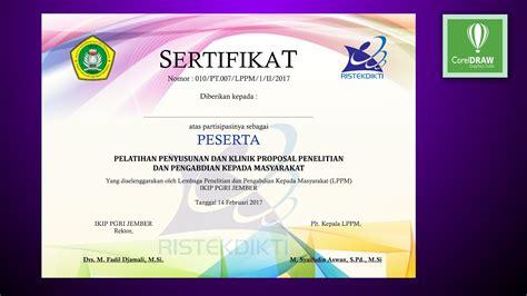 tutorial coreldraw design sertifikat youtube