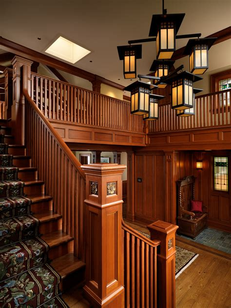 Craftsman Home Interiors Newel Post Designs Staircase Craftsman With Carved Newel