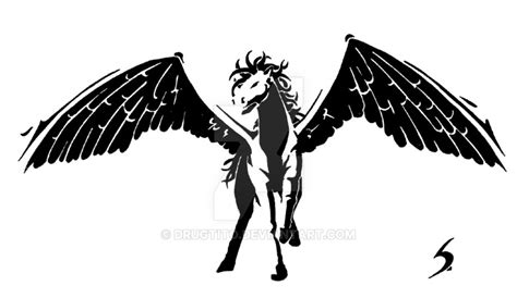 nice skulls and pegasus black and white tattoo stencil