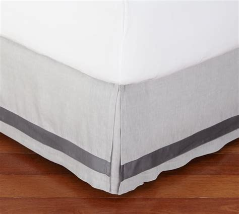 pottery barn bed skirts linen with silk trim bed skirt pottery barn