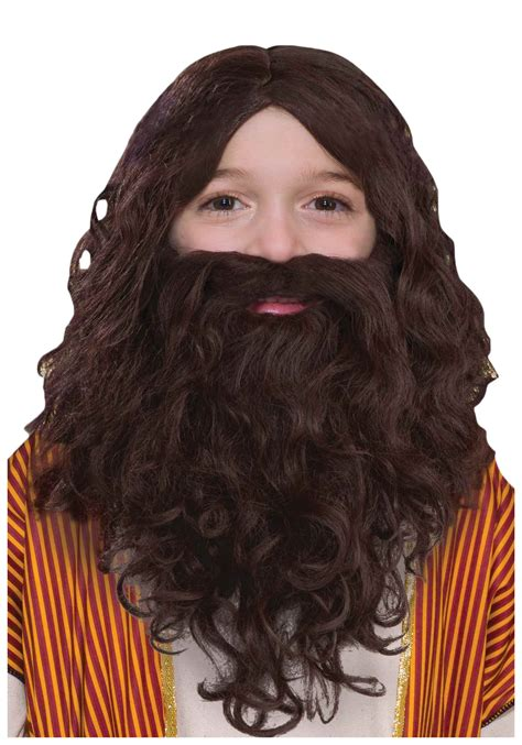 With Wig On by Child Biblical Wig And Beard Set
