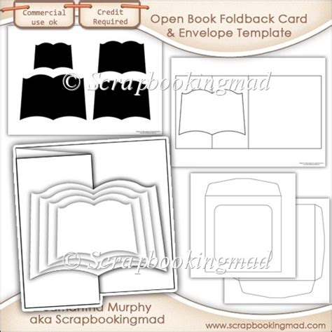 Open Book Template For Card by 6x6 Open Book Foldback Card Kit Templates Commercial Use