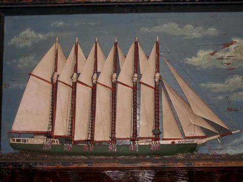 antique american nautical folk art diorama  mast