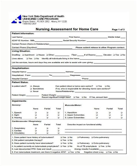 format askep home care 8 medical assessment form sles free sle exle