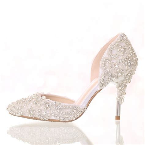 7cm or 9cm thin heel height colored rhinestone bridal