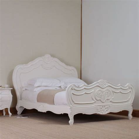 french shabby chic louis rococo bed white distressed wood