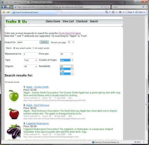 Zoom Search Wrensoft Zoom Search Engine Screenshots Custom Meta And E Commerce