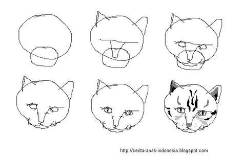 sketsa cara menggambar kepala kucing multi info