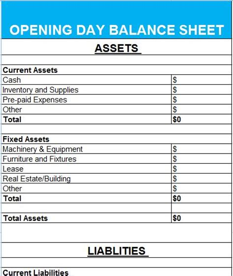 opening day balance sheet template wonderful opening balance sheet template pictures