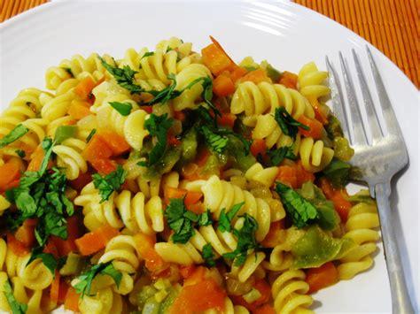vegetables pasta spicy vegetable pasta vegrecipes4u