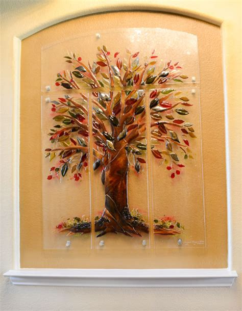 Kitchen Tile Murals Tile Art Backsplashes quot tree of life quot fused glass wall mural designer glass