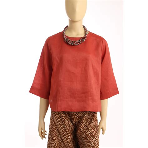 Tunik Blouse Bluss Tunic Wanita Muslim Polos Atasan Baju Basic blus wanita bahan linen elevenia