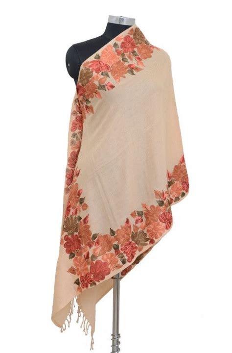 pakistani shawls pashmina peach pure pashmina hand embroidered kashmiri shawl