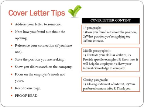 Cover Letter Tips tips for writing a cover letter for a application