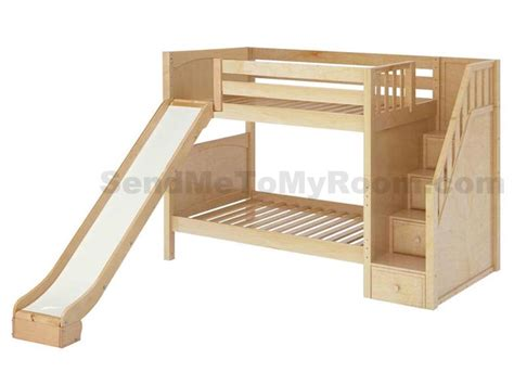 Wood Bunk Bed With Slide Stellar Medium Bunk Bed With Slide And Staircase Bunk Bed Bunk Bed Staircases
