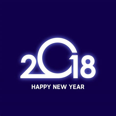 glowing 2018 happy new year design vector free