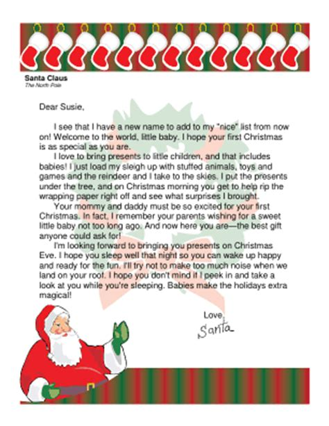 free printable baby s first letter from santa letter from santa for baby s first christmas