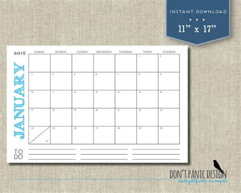 large printable monthly calendar rustic color
