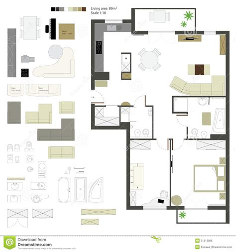 adobe illustrator floor plan template vector flat projection with furniture set scale stock