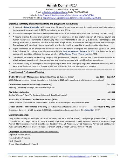 format cv united kingdom ash domah detailed cv award winning financial controller