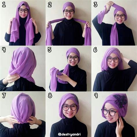 tutorial hijab turban pashmina simple hijab tutorial hijab pinterest turbans graduation