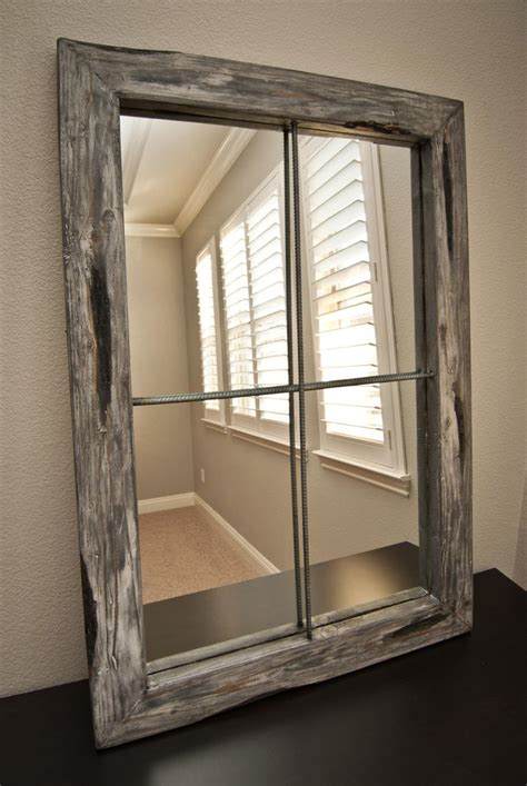 faux window mirror rustic distressed faux window small graywash