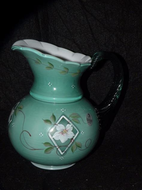 Fenton Painted Ls fenton glass 75th anniversary spruce green pitcher
