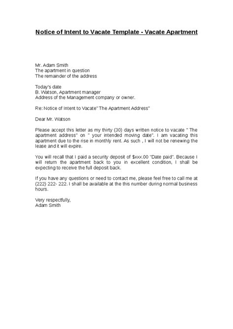 Letter Vacate Apartment Impression Picture Notice Of Intent Template 1 Helendearest Intent To Vacate Letter Template