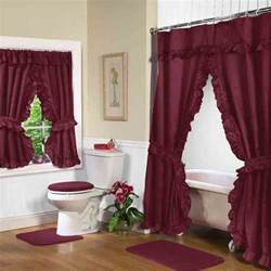 burgundy swag shower curtain