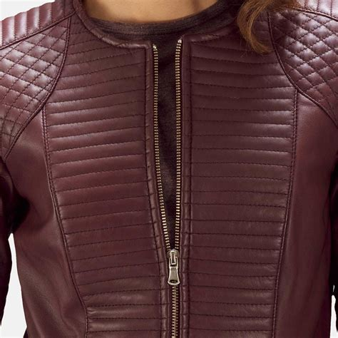 Leather Quilted by Womens Nexi Quilted Maroon Leather Jacket