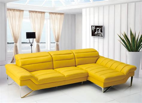 Yellow Leather Sofa Modern by Divani Casa Leven Modern Yellow Leather Sectional Sofa
