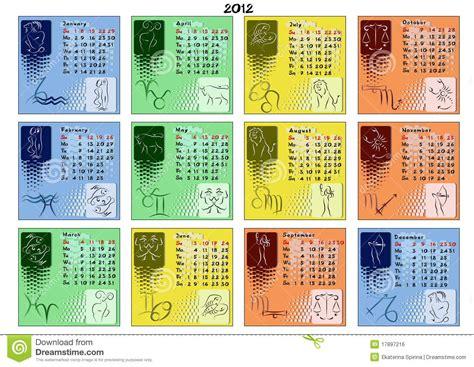 Calendario Zodiaco Calendar 2012 With Zodiac Signs Royalty Free Stock Image