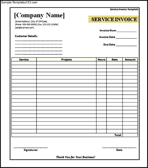 free templates for invoices printable free printable service invoice template sle templates