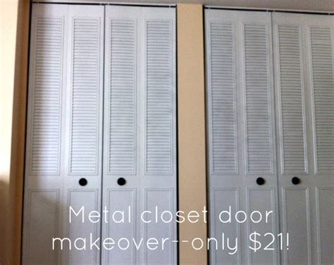 Metal Bifold Closet Doors Spray Paint Closet Door Makeover For 21